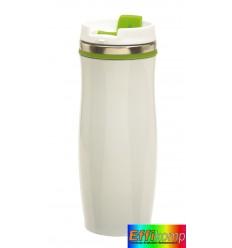 Kubek termiczny, CREMA, biały/zielony.