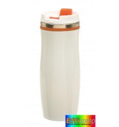 Kubek termiczny, CREMA, biały/pomarańczowy.