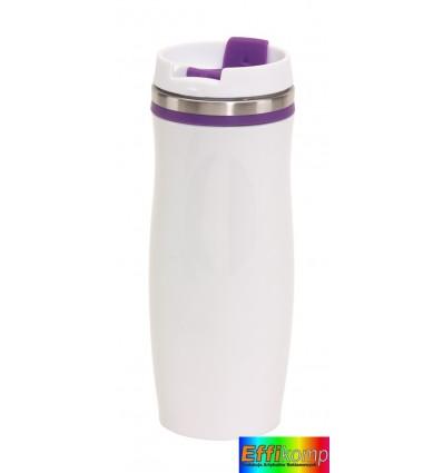 Kubek termiczny, CREMA, biały/fioletowy.