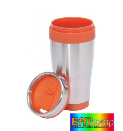 Kubek termiczny, LUNGO, srebny/pomarańczowy.