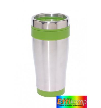 Kubek termiczny, LUNGO, srebny/zielony.