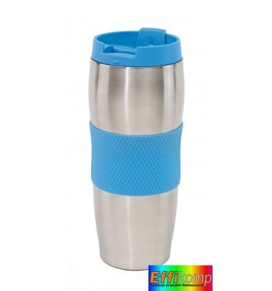 Kubek termiczny, AU LAIT, srebrny/niebieski.