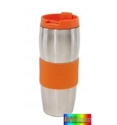 Kubek termiczny, AU LAIT, srebrny/pomarańczowy.
