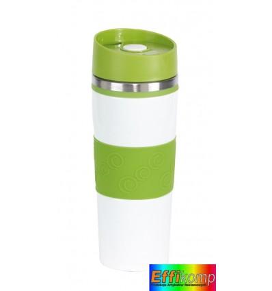 Kubek termiczny, ARABICA, biały/zielony.