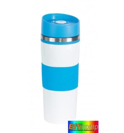 Kubek termiczny, ARABICA, biały/niebieski.