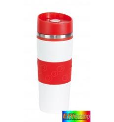 Kubek termiczny, ARABICA, biały/czerwony.