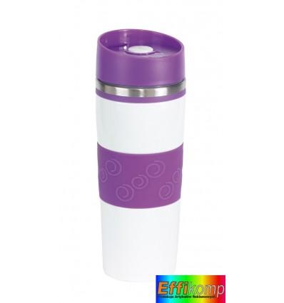 Kubek termiczny, ARABICA, biały/fioletowy.