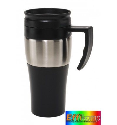 Kubek termiczny, HOT DRINK, czarny/srebrny.