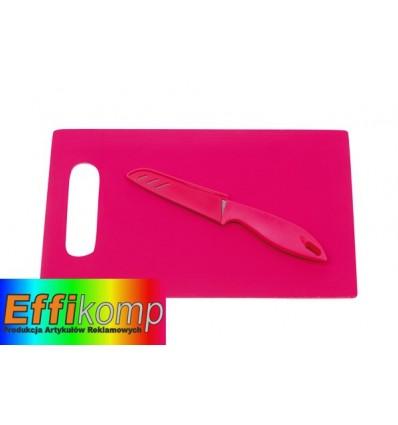 Deska do krojenia z nożem, SUNNY, różowy.