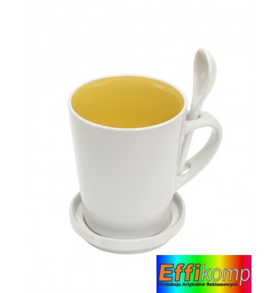 Kubek z łyżeczką, HIGH FIVE, biały/żółty.