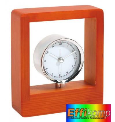 Chromowany zegar z budzikiem, FRAME, naturalny.