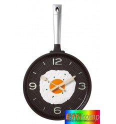 Kuchenny zegar ścienny, FLYING PAN, czarny/srebrny.