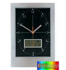 Zegar ścienny, APOLLO, srebrny/czarny.