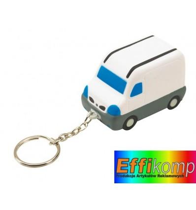 Brelok antystresowy na klucze, VAN, biały/szary/niebieski.