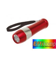 Latarka, 9 diod Led, DARK NIGHT czerwony/srebrny.