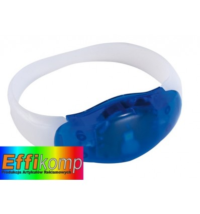 Świecąca opaska na rękę, FESTIVAL, niebieski/transparentny.