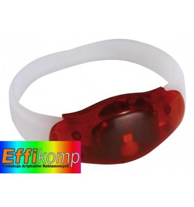 Świecąca opaska na rękę, FESTIVAL, czerwony/transparentny.