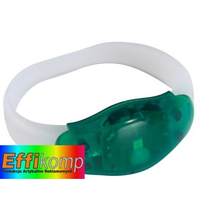 Świecąca opaska na rękę, FESTIVAL, zielony/transparentny.