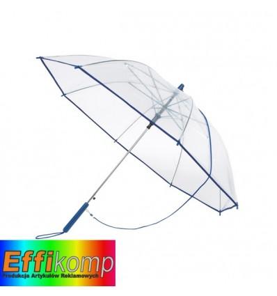 Parasol automatyczny, PANORAMIC, niebieski/transparentny.