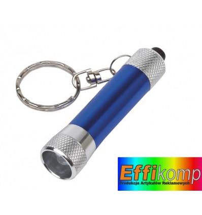 Brelok z latarką LED, FLARE, srebrny/niebieski.
