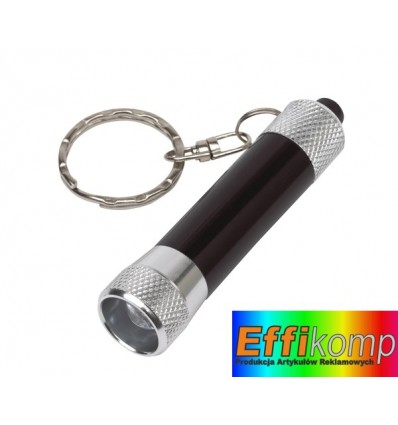 Brelok z latarką LED, FLARE, srebrny/czarny.