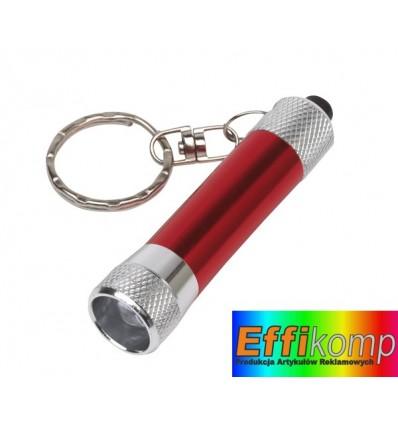Brelok z latarką LED, FLARE, srebrny/czerwony.
