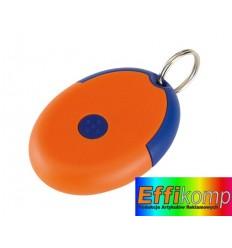 Brelok na klucze z prezerwatywą, FLIRT, niebieski/pomarańczowy.
