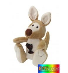 Pluszowy kangur, JUMPER, brązowy/biały.