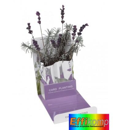Kartka z nasionami lawendy, LAVRNDER, biały/fioletowy.