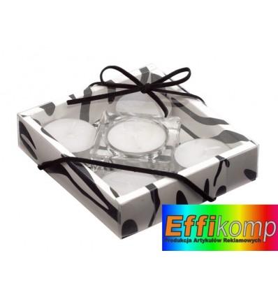 Zestaw świec, TRANSPARENT FASHION, biały/przezroczysty/czarny.