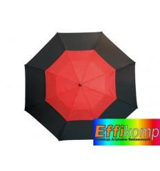 Parasol golf, MONSUN, czarny/czerwony.