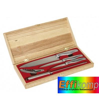 Komplet noży, ENSEMBLE, srebrny/drewniany.
